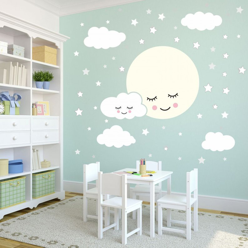 Us 6 22 25 Off Full Moon With Clouds Stars Wall Decal Kids Nursery Rooms Removable Sticekrs Vinyl Baby Children S Room Decor Diyzw487 In
