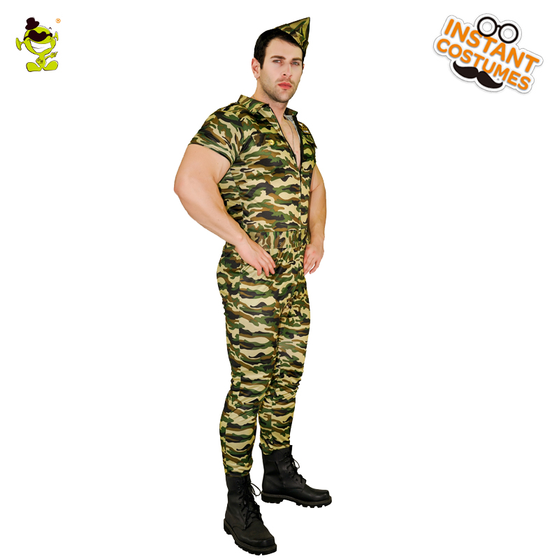 Men's Soldier Costume Adult Army Soldier Costume Soldier Uniform Party Fancy Dress Outfit Costumes for Purim Carnival Party