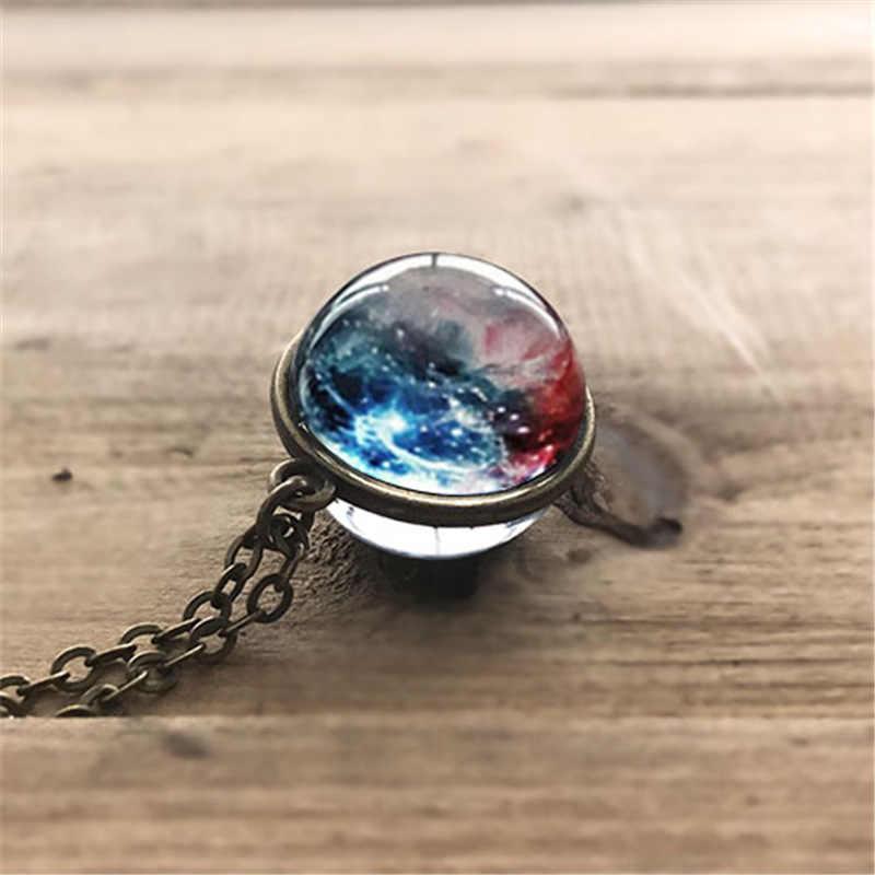 Nebulosa galáxia dupla face pingente colar de vidro arte imagem feito à mão afirmação universo planeta colar de jóias