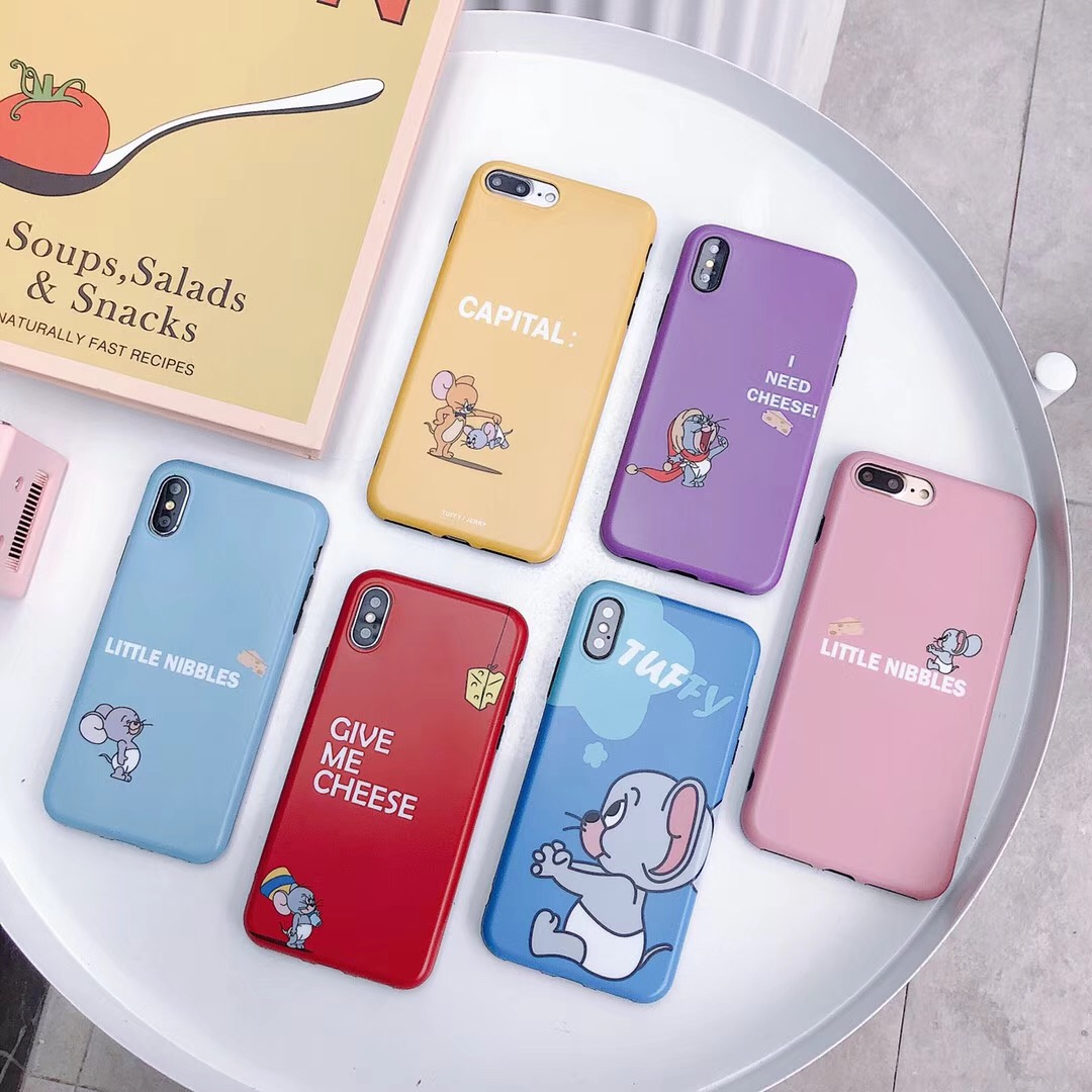 Cute cartoon classic anime Jerry eat cheese phone case For iPhone 8 7 6 6s Plus X XR XS Max funny soft silicon IMD cover FUndas