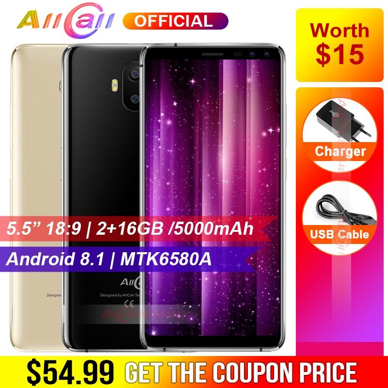Оригинальный AllCall S1 5,5 18:9 5000 мАч Батарея Android 8,1 mtk6580a четыре ядра 2 ГБ Оперативная память 16 ГБ Встроенная память 8MP + 2MP смартфон с камерой