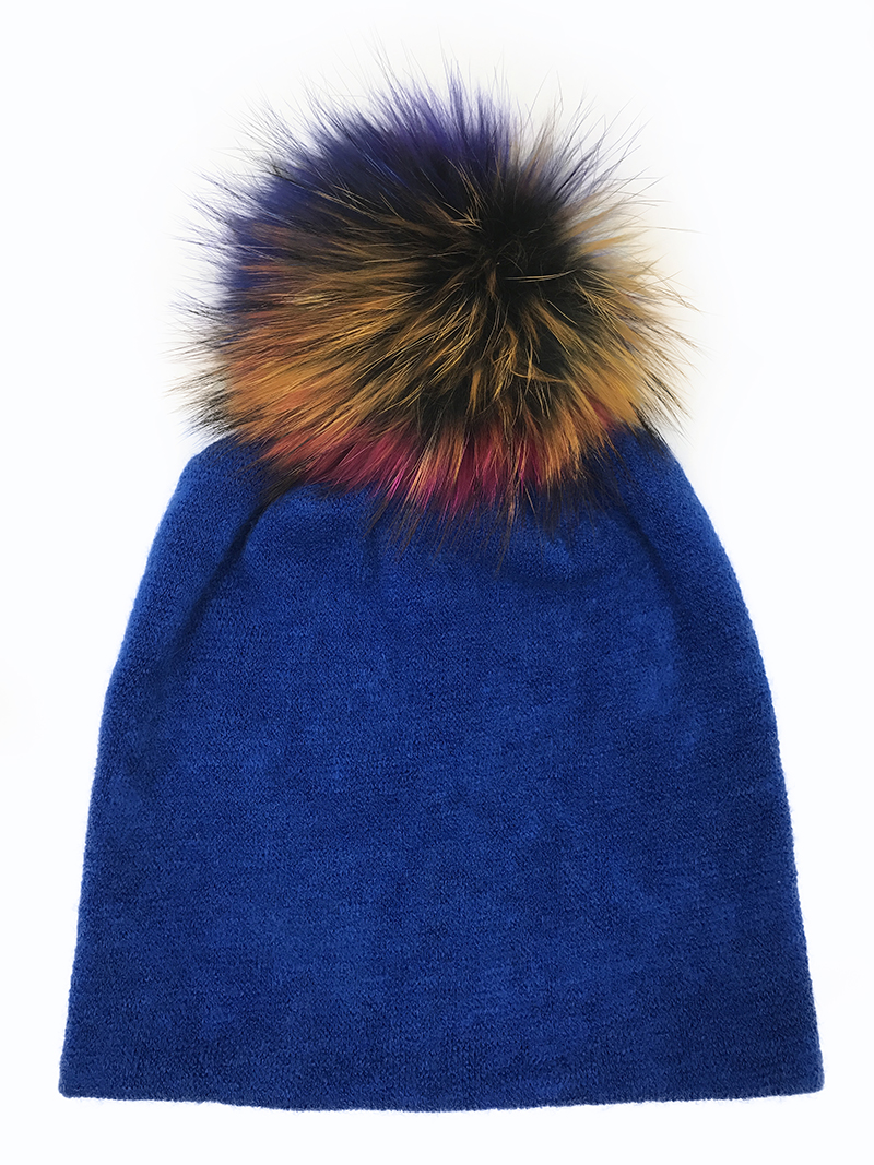 Ba17979 2017 new fashion winter blue beanies with colorful raccoon POMPOM,Real fur sweater knit skullcap,beanies for ladies hats charter club new blue sky women s medium m cable knit crewneck sweater $59 359