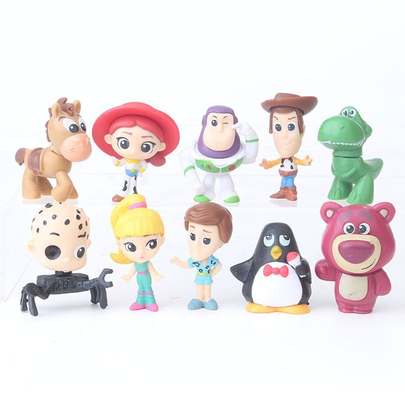 Us 999 10pcsset Toy Story Figure Toys Brinquedo Woody Buzz Lightyear Jessie Rex Mr Potato Head Little Green Men Lotso Mini Doll 5 9cm In Action