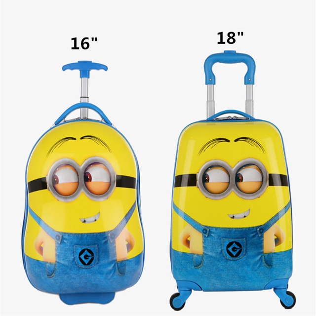 3ea1074cbf57 US $36.02 16% OFF| New Cartoon Children Rolling Luggage Wheeled bag Kid  Suitcase Boy Girl Carry Ons ABS Luggage Trolley child Luggage -in Rolling  ...