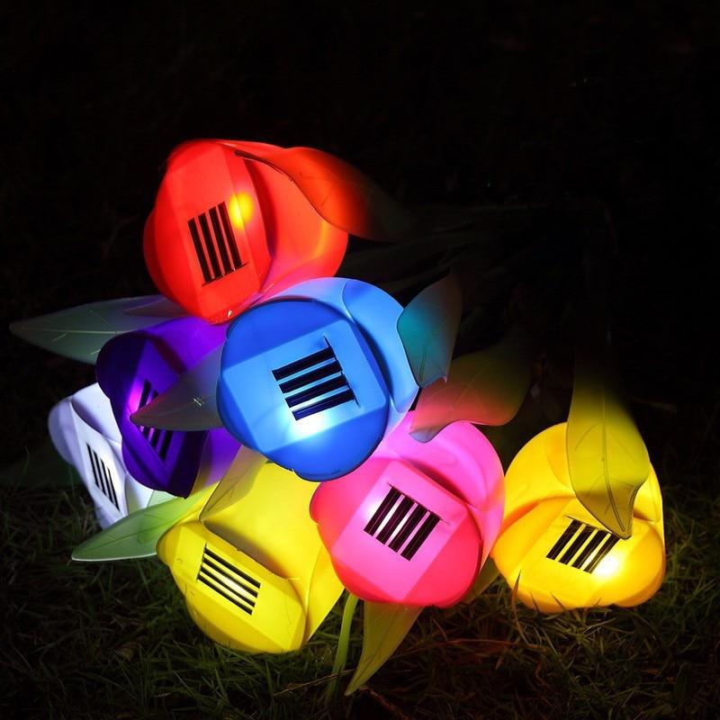 LED Solar Night Light Outdoor Yard Garden Light Oem Colorful Waterproof Solar Powered Tulip Lawn Led Light Landscape Flower Lamp