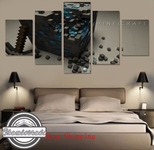 New 5 Pieces Modern HD Canvas Painting Art Minecraft Game Paintings On Canvas Wall Art For Home Decorations Wall Decor Artwork цена