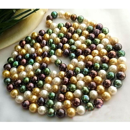 Charming Real Pearl Jewellery,58inches Long AA 8-9MM Multicolor Round Freshwater Cultured Pearl Necklace,New Free Shipping недорого