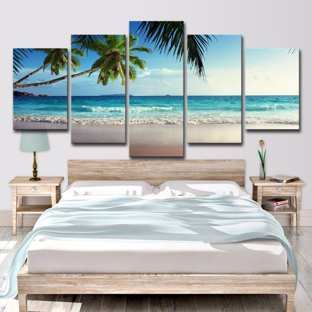 5P0061 Pictures Frame Home Decor Printed Poster 5 Pieces Coconut Tree Blue Sky And Ocean Beach Seascape Wall Art Canvas Painting PENGDA (8)