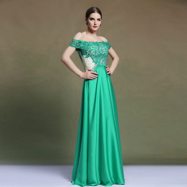 962840f8ac Europe New Elegant Emerald Green Evening Dress Floor Length Lace Boat Neck  Off The Shoulder Party