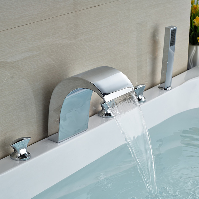 Bath Tub Sink Mixer Faucet Bright Chrome Deck Mounted with Plastic ...