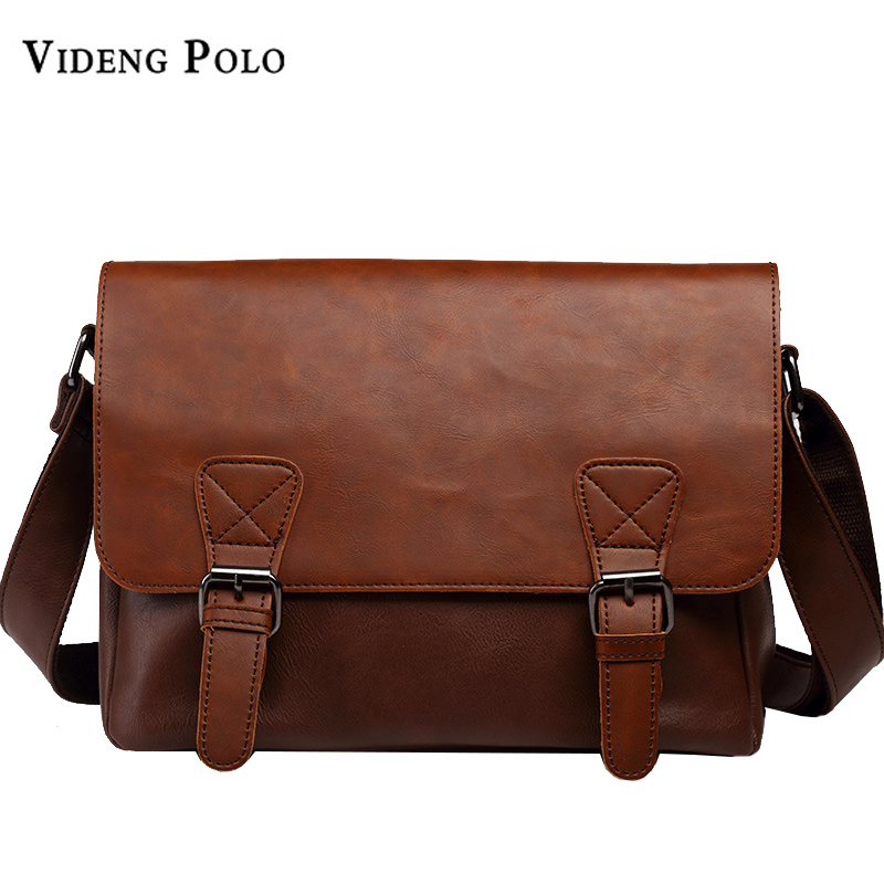 VIDENG POLO Famous Brand Leather Men Bag Casual Business Leather Mens Messenger Bag Vintage Men's Crossbody Bag bolsas male new casual business leather mens messenger bag hot sell famous brand design leather men bag vintage fashion mens cross body bag