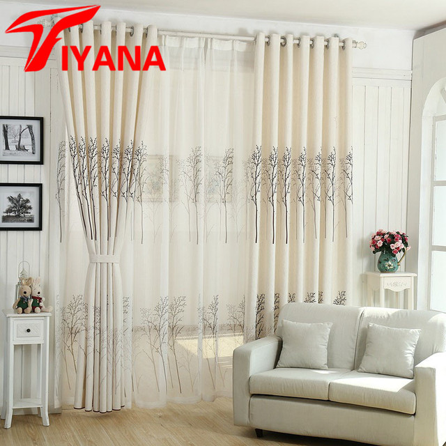 Modern Simple Tree Plant Design Luxury Sheer Curtains For Living Room Bay Window Kitchen Study