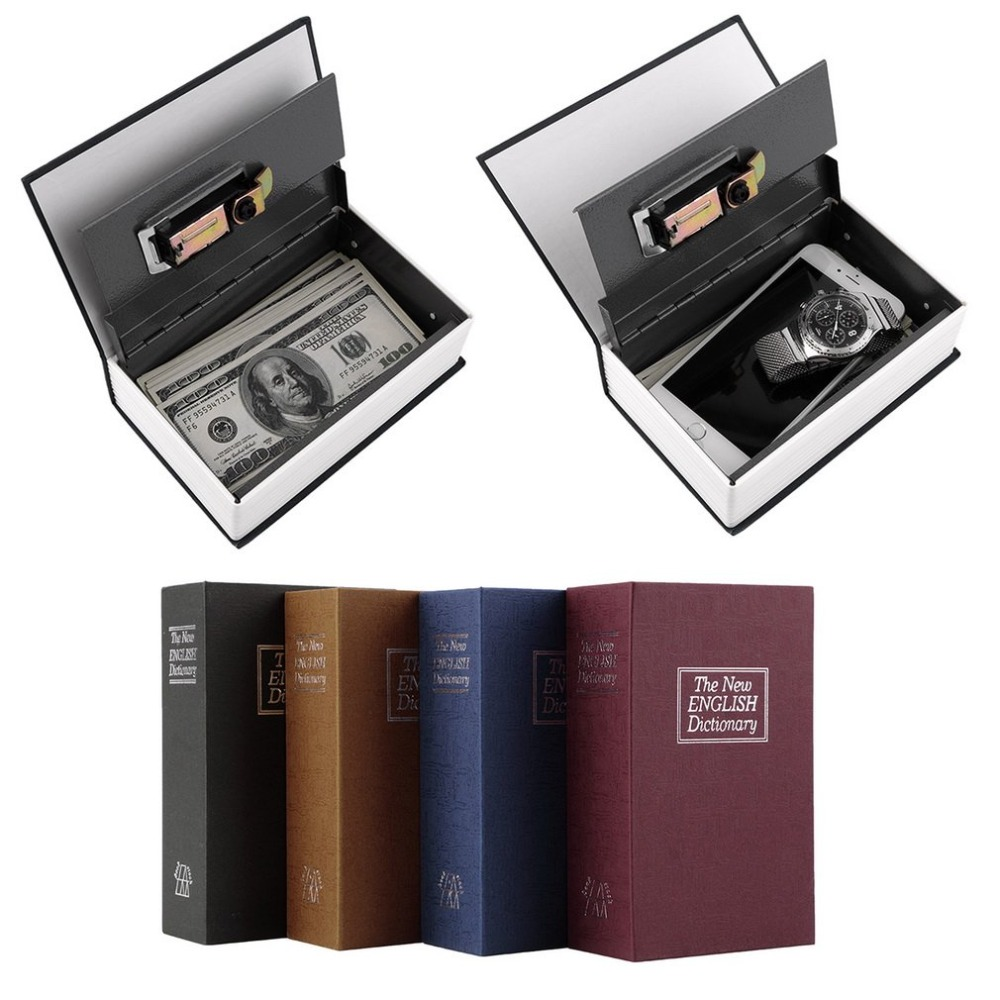 LESHP Secret Book Box Hidden Security Safety Lock Box Cash Money Jewelry Cabinet Lock-box-dictionary Metal Steel