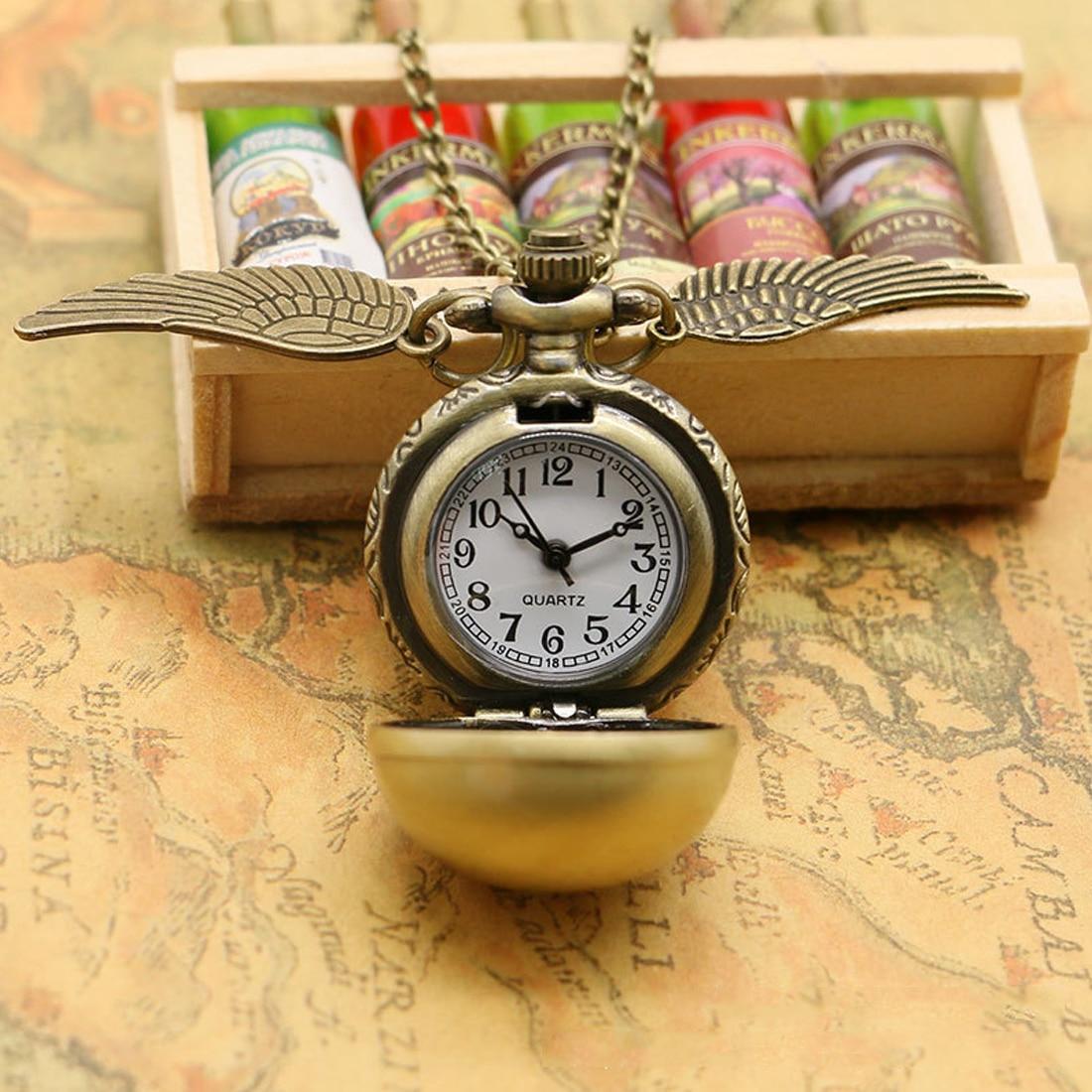 2019 Golden Ball Wing Pocket Watch New Quartz Pocket Watch  Hot Retro Pendant Clock Classic Pocket Necklace Gifts Kids