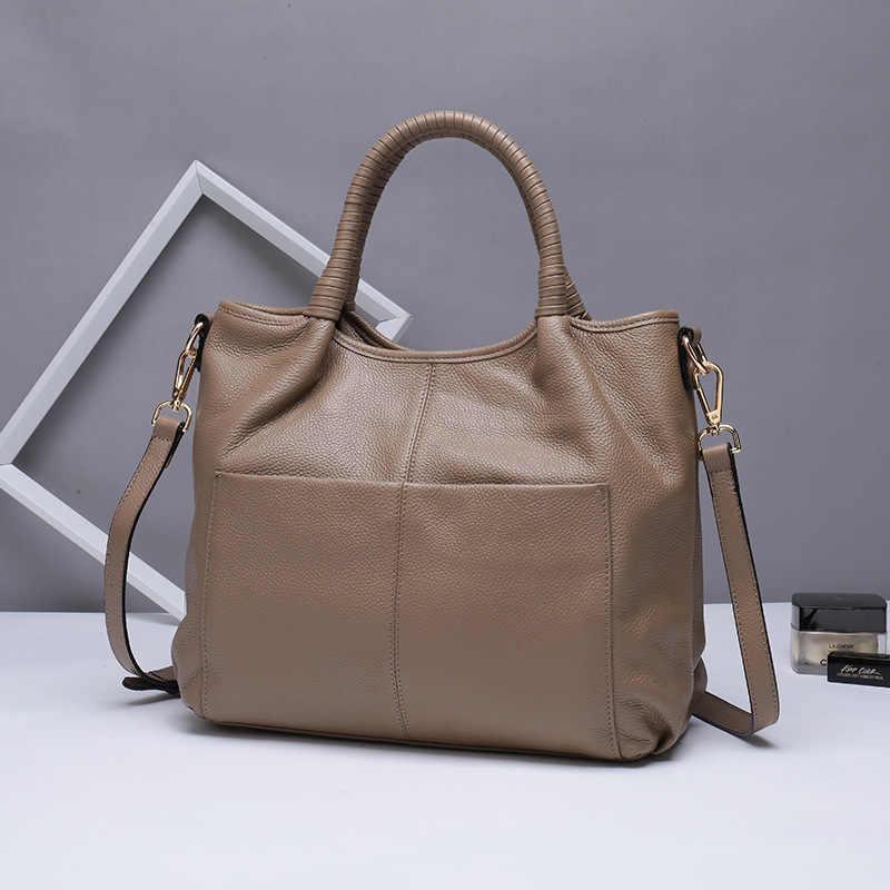 Женская сумка из натуральной кожи, большая сумка-мессенджер с двумя карманами