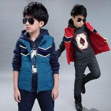 2016 Зима корейский мальчик шаблон покер костюм-тройку детей мода плюс толстый бархат комплект одежды