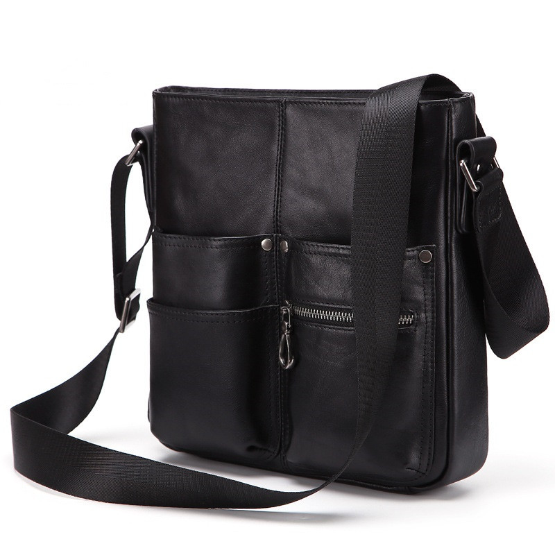 Uniego New Genuine Leather Casual Male Crossbody Messenger Bag High Quality Travel Shoulder Bags for Men Briefcase Handbag HB185