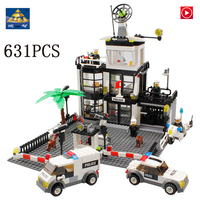 city LepinS 6725 Police station Figures Police office Building Blocks Bricks Toys Model kits gifts for children