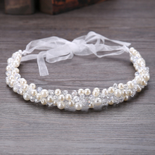 TUANMING Fashion Pearl Crystal Manmade Tiara Wedding Hair Wear Silver Pearl Hair Accessory Tiara Pearl Hairwear