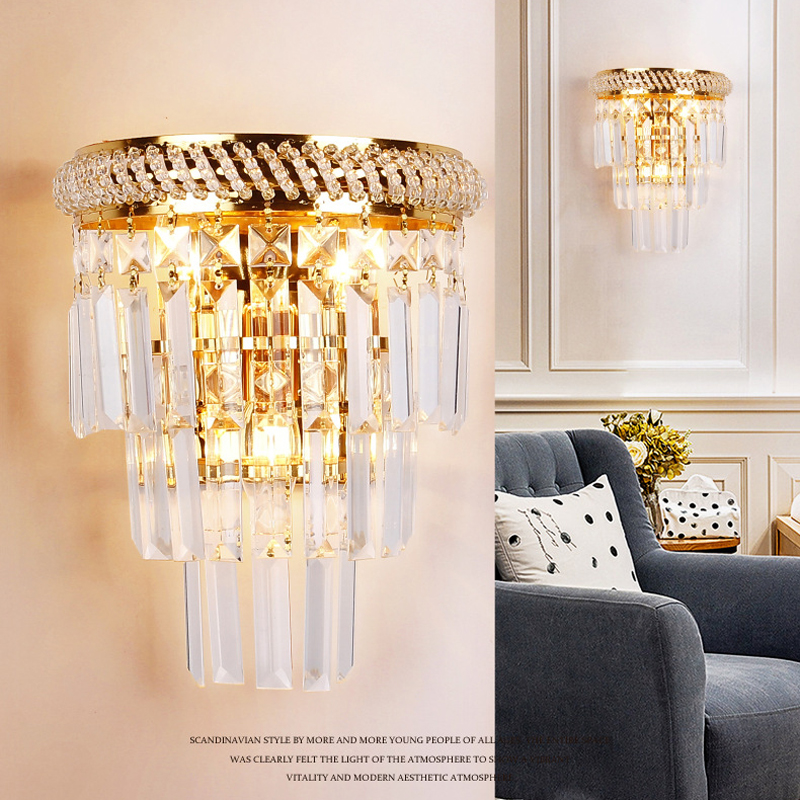 European luxury crystal wall lamp Creative 3 heads E14 wall Light for living room TV background aisle corridor home decorationEuropean luxury crystal wall lamp Creative 3 heads E14 wall Light for living room TV background aisle corridor home decoration