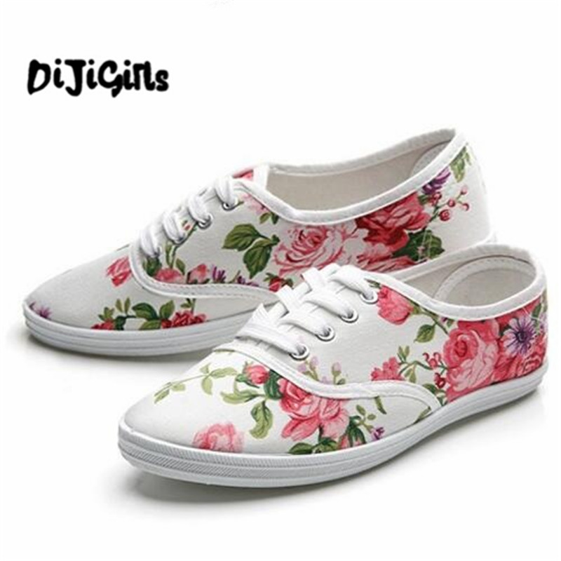 2018 Floral Women Shoes Women Lace Up Casual Canvas Shoes Woman Flats Sneakers Ladies Espadrilles Dropshipping Zapatos Mujer new women canvas shoes casual lace up cute spring candy colors ladies flats white shoes woman free shipping