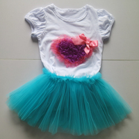 icing fashion shirt sleeve tee and royal blue ball gown high quality top-selling kids outfit