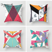 Fuwatacchi Geometric Cushion Cover Nordic Style Red Green Pink Patchwork Sofa Pillow Covers Decorative Pillowcase
