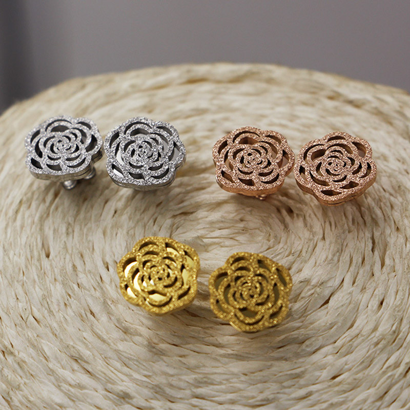 FREE SHIPPING Unique Titanium steel Rose Gold color plated camellia hollow-out frosted Stud Earrings for Girl