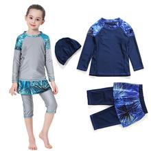 Girls Muslim Swimwears Islamic Children 3pcs Swim Shorts Diving Suits Arab Islam Beach Wear Swimming Caps Burkini For Girl