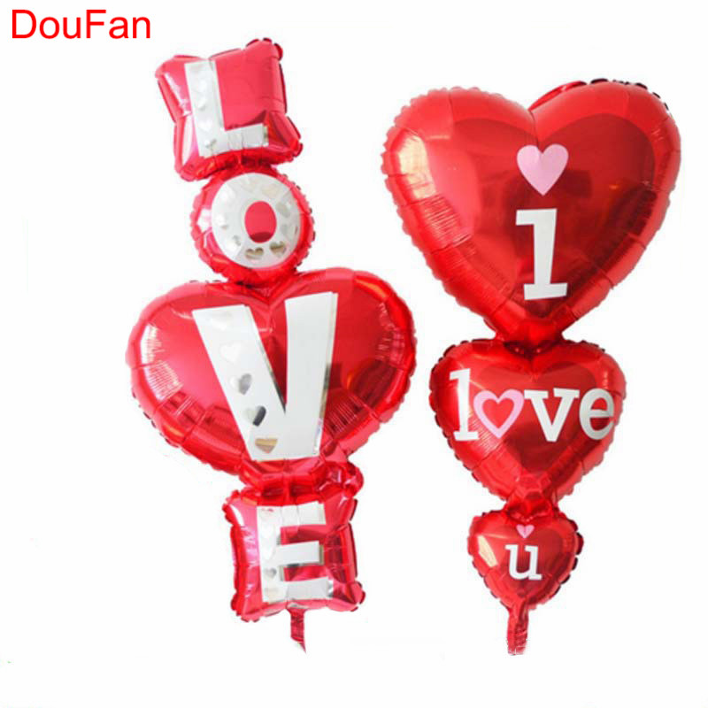 DouFan 1PC Onepiece I LOVE U Foil Balloons Red Love Heart Balloon Valentines Day Proposal Decorations Wedding Birthday Supplies