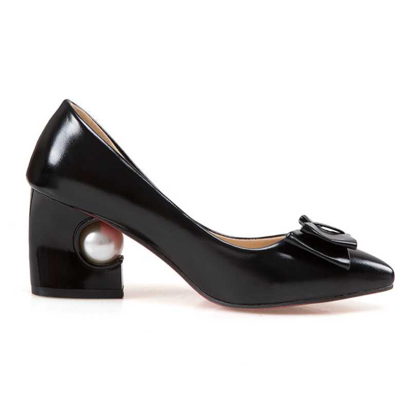 Femmes Beige Chaussures Vintage Talons noir Papillon Office forme Grande Printemps Pointu Moins 43 Taille Noeud Pompes Plate Bout 32 Mignon Lady Karinluna rose Automne AR7qS1x