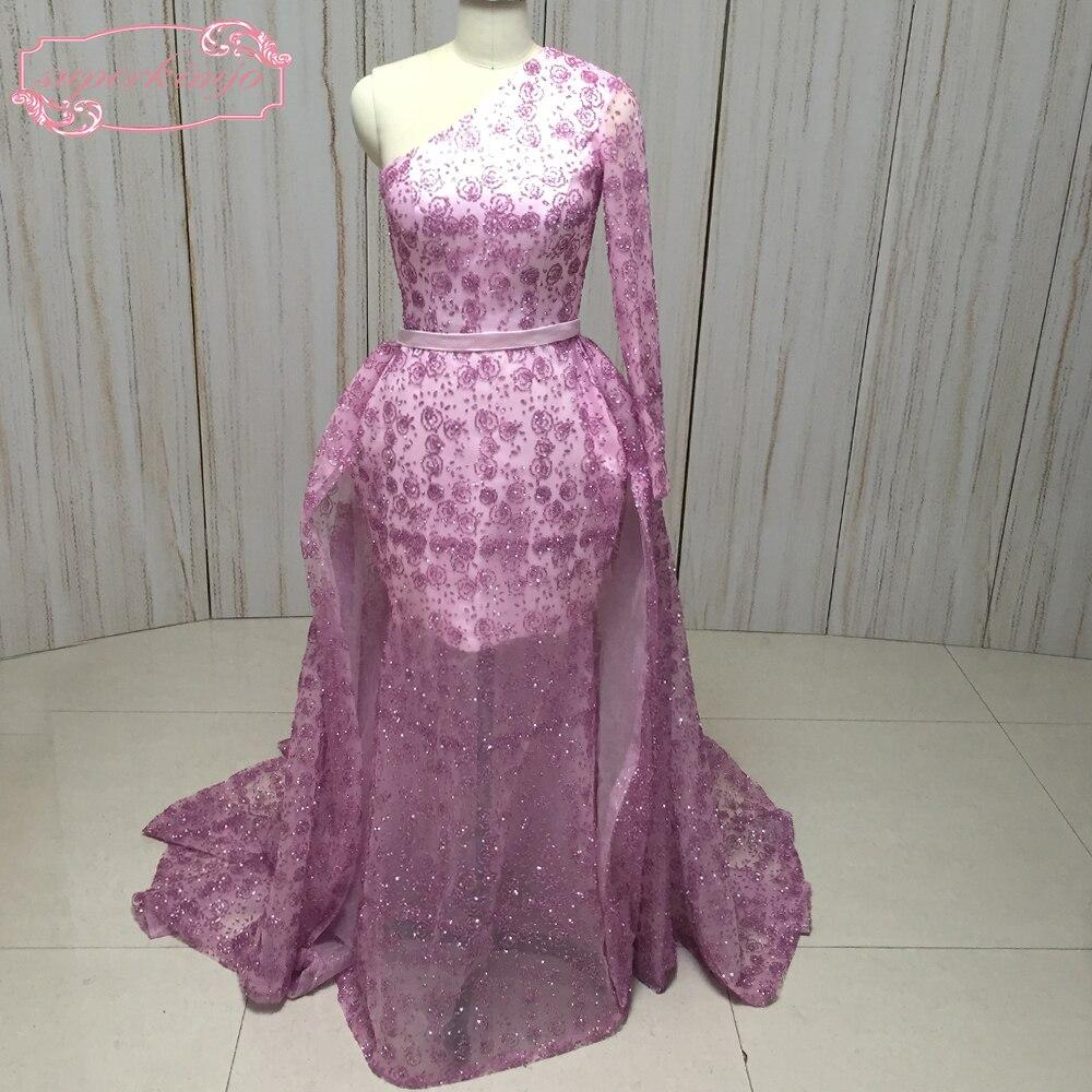 SuperKimJo Съемная юбка вечерние платья с длинным рукавом одно плечо Bling пайетки моды арабский платья для выпускного вечера
