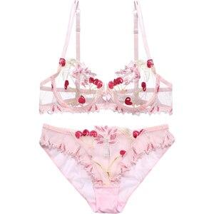 Image 1 - 女性の下着ピンクのブラとパンティーセット透明ブラセットランジェリーかわいい桜刺繍下着女性ブラジャー裏地なし