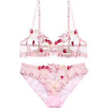 Womens underwear Pink Bra and Panties Set Transparent Bra Set  Lingerie Kawaii Cherry Embroidery Underwear Women Bra Unlined