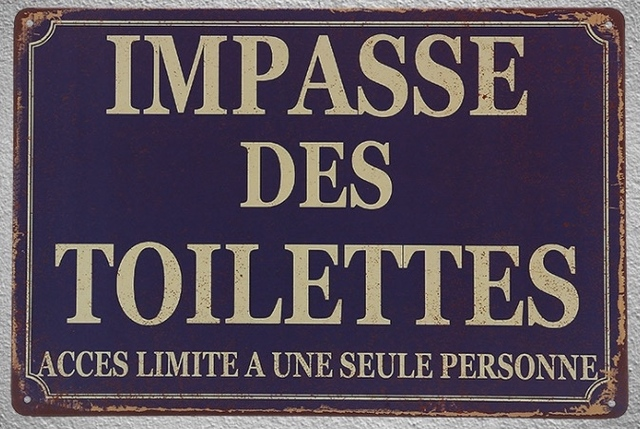 US $7 59 5% OFF|1 pc Impass des toilettes french limited access tin Plates  Signs wall plaques Decoration vintage Dropshipping Poster metal-in Plaques