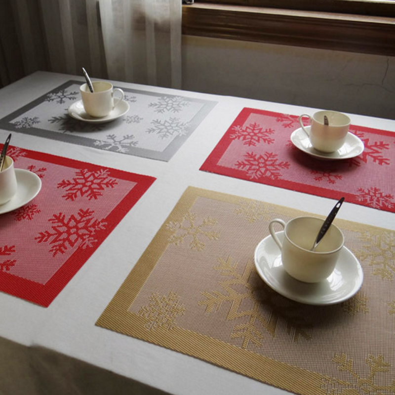 1pc christmas snowflake style table mats placemat decoration pvc kitchen table mats dinning table cloth home - Kitchen Table Mats