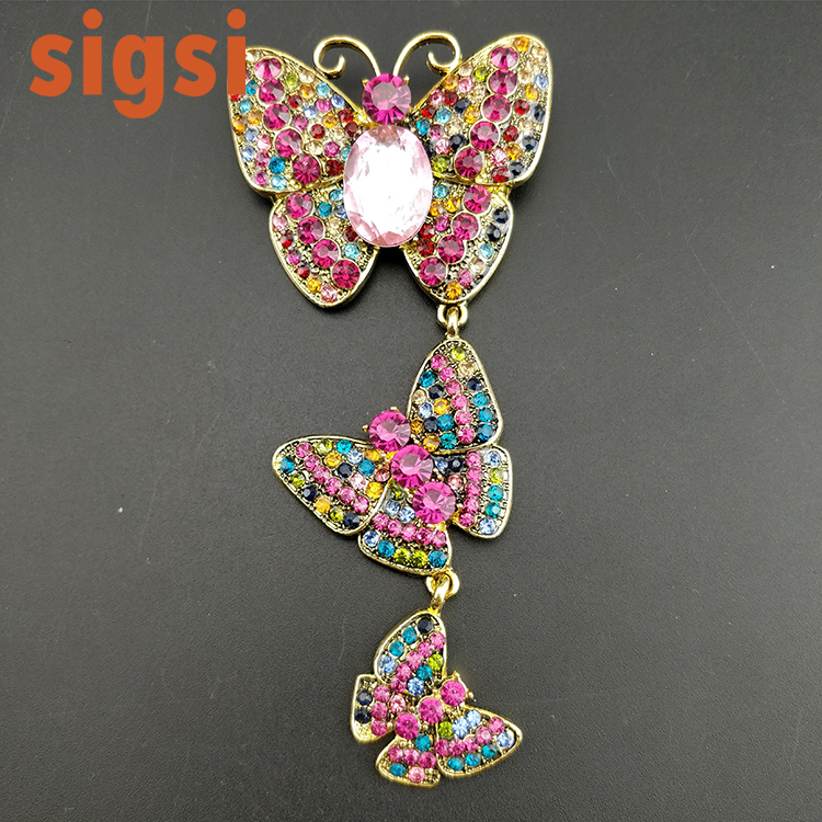 50/100 pcs/lot livraison gratuite fantaisie vintage style or ton strass triple papillon australie grande broche broches