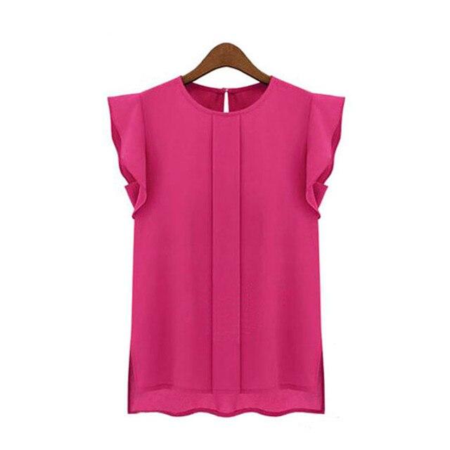 Casual Loose Chiffon Short Tulip Sleeve Blouse Shirt  2