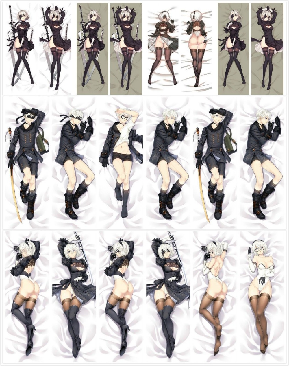 New Hot Game Dakimakura NieR:Automata YoRHa 2B Hugging Body Pillow Cover Case Bedding Covers-in Pillow Case from Home & Garden