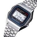 Multifuncional Digital LED sports relógios de Aço Inoxidável Relógio de Pulso Das Mulheres Dos Homens Do Vintage relógio despertador Cronômetro Luminoso