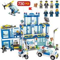 730PCS Toys For Children Kenya Police Station Bricks Compatible Legoingly City Police Headquarters Building Block Police Car