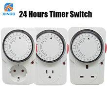 Электрическая розетка с механическим таймером, энергосберегающая, 24 часа, интеллектуальная защита для дома, сертификаты CE ROHS GS