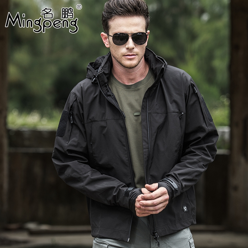 Waterproof Tactical Soft Shell Army Jacket Men Windbreaker Hooded Coat Spring Autumn Casual Military Jackets Cool Outwear-in Jackets from Men's Clothing    1