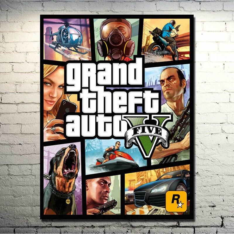 POPIGIST-Grand Theft Auto V Video Game GTA 5 Arte Della Seta Tessuto Stampa Poster 13x18 32x43 pollici Immagini A Parete Per Soggiorno 007