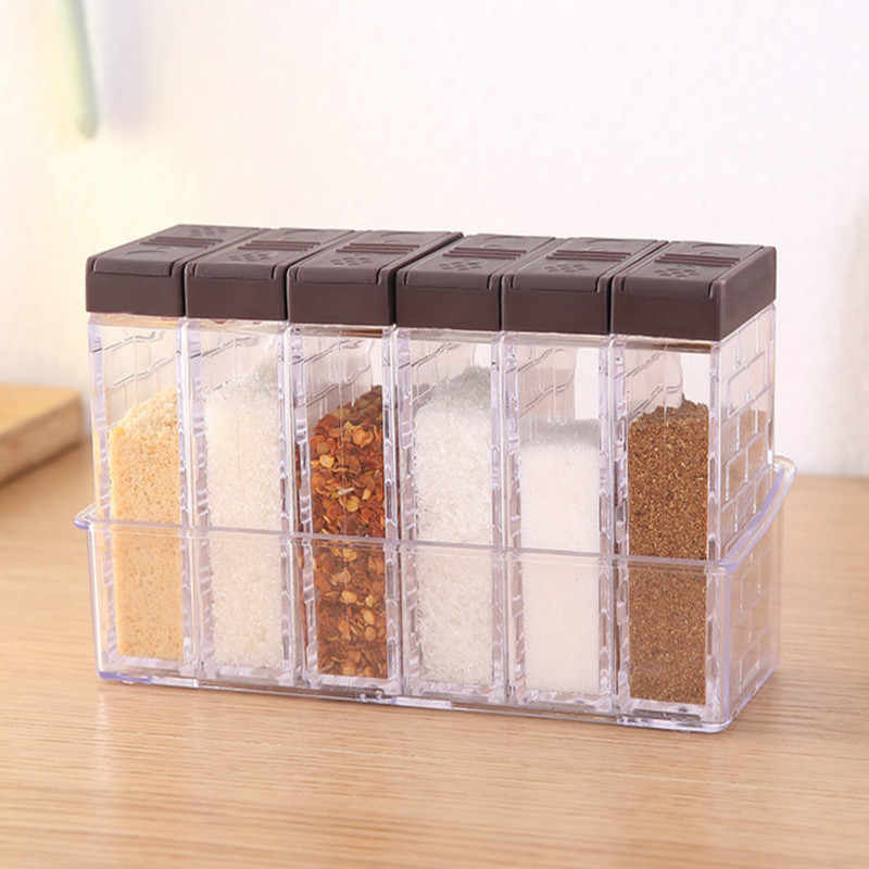 6Pcs/Set Kitchen Spice Jar Seasoning Box Kitchen Spice Storage Bottle Transparent Salt And Pepper Cumin Powder Box Tool mx306142