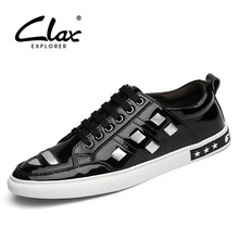 Clax Men's Fashion Shoe Spring Autumn British Style Black White Leather Shoes for Male Casual Walking Footwear(China (Mainland))