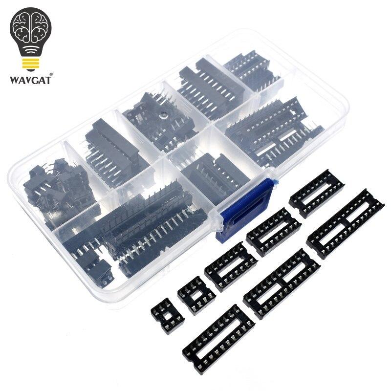 66PCS/Lot DIP IC Sockets Adaptor Solder Type Socket Kit 6 8 14 16 18 20 24 28 40 Pin DIP-8 16-Pins DIP8 DIP16 IC Connector