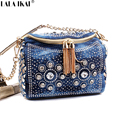 Fashion Blue Denim Jean Bags Bling Fashion Small Bag with Tassel Shoulder Bag with Rhinestone Lady Denim Women Handbags BWA319