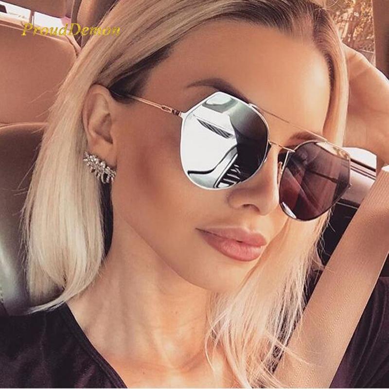 Prouddemon розовый зеркало круглый Солнцезащитные очки для женщин Для женщин Элитный бренд оттенков Защита от солнца Очки для дам Металл храм че...