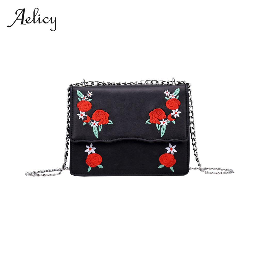 Aelicy Women Embroidery Flower Flap Bags Fashion Flap PU Leather Messenger Bag Ladies Small Crossbody Shoulder bag women miyahouse summer women messenger bags canvas leather cartoon owl printed crossbody shoulder bags small ladies flap bag casual